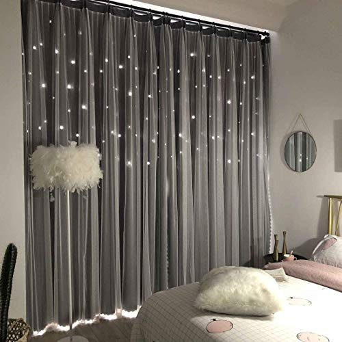 UNISTAR 2 Panels Stars Blackout Curtains for Bedroom Girls Kids Baby Window Curtain Double Layer Star Cut Out Aesthetic Living Room Decor Wall Home Decorations Curtain,W52 x L63 Inches,Grey