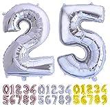 Globo numero 25 o 52 plata Globos Gigante números del 0 al 99 fiestas cumpleaños decoración fiesta aniversario boda tamaño grande 70 cm con accesorio para inflar aire o helio (25/52 Plata)