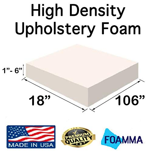 New FOAMMA  3″ x 18″ x 106″ High Density Upholstery Foam (Chair Cushion Square Foam for Dinning Chairs, Wheelchair Seat Cushion Replacement)