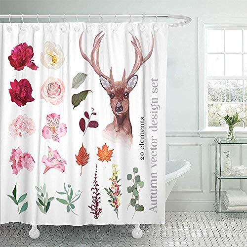 Searster$ Shower Curtain Cortina de baño Otoño Floral Mix Cabeza de