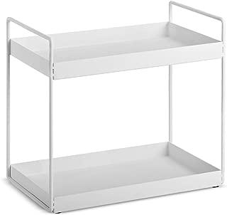 2-Tier Bathroom Countertop Organizer Vanity Tray Cosmetic & Makeup Storage Kitchen Spice Rack Standing Shelf, White