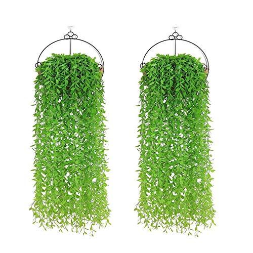 YHmall 10er Kunstpflanze Hängende Künstliche Pflanzen Efeugirlande Lang Grüne Plastikpflanzen für Draussen Innen Äußer Balkon Wand Hochzeit Garten Deko