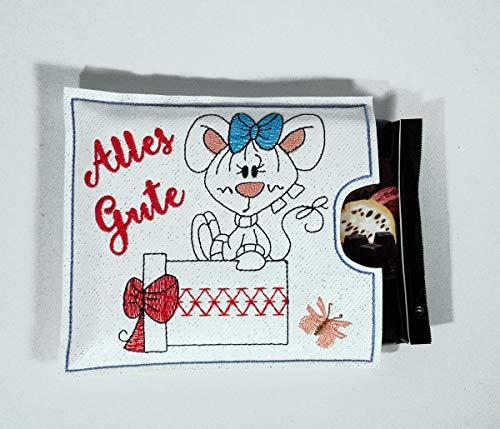 Bestickte Geschenkverpackung für eine Tafel Schokolade als Geschenkidee Schokoladenhülle zum Geburtstag oder einfach so