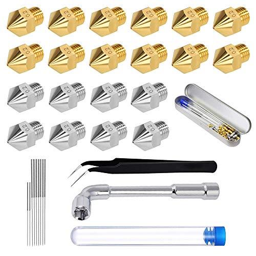 Komake Boquilla Impresora 3D(Latón +Acero),Herramienta De Limpieza Con Boquillas,Para MK8 Makerbot/Creality CR-10 / Ender 3/5(0,2 mm 0,4 mm 0,6 mm 0,8 mm 1,0 mm)