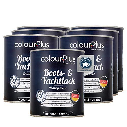 colourPlus® 1K Bootslack & Yachtlack (7x750ml, transparent) Bootslack Holz - Schiffslack - Bootslacke - Boot Lack - Klarlack Holz - Made in Germany