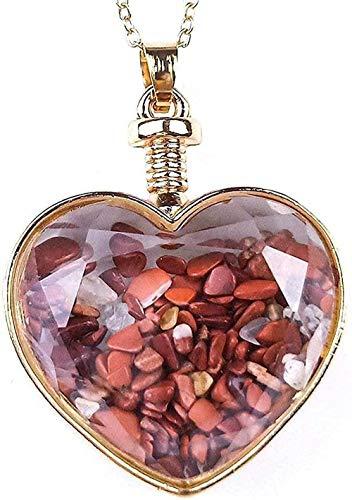 ZGYFJCH Co.,ltd Collar de Moda Collares Pendientes de Piedra para Mujer Chips Naturales Forma de corazón Collares Pendientes de Piedra de Jaspe Rojo Vintage con Adornos de Cadenas de Oro