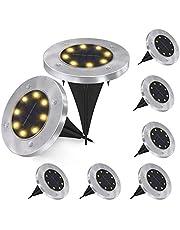 Solcell markbelysning, 8 LED solcellsträdgårdsbelysning vattentäta utomhus trädgård disk lampor för trädgård altan gångstig gräsmatta uppfart, varm vit, 8-pack