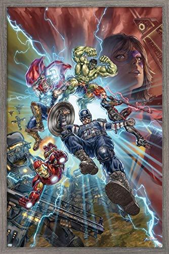 Trends International Marvel's Avengers - Battle Wall Poster, 14.725' x 22.375', Barnwood Framed Version