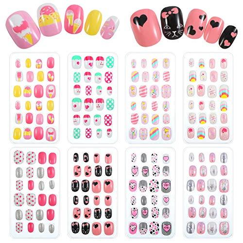 birdsunshine 192 Stücke Falscher Nagel für Kinder, Selbstklebende Künstliche Falsche Fingernägel Verschiedene süße Muster Kinder Nagel für Mädchen Teen Nagel Kunst