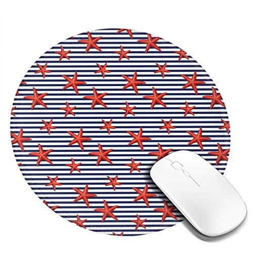 Alfombrilla de ratón redonda lavable, diseño de rayas clásicas con estrellas marítimas de color rojo, base de goma antideslizante