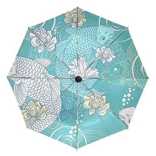 Paraguas de Viaje pequeño a Prueba de Viento al Aire Libre Lluvia Sol UV Auto Compacto 3 Pliegues Cubierta de Paraguas - patrón sin Costuras de Carpa koi
