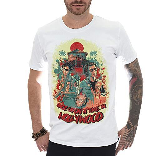 MUSH T-Shirt Uomo Bianca 100% Cotone Organico - Once Upon A Time in Hollywood - Tarantino PAYNT, S