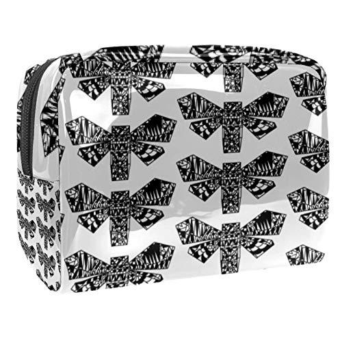 Bolsa de maquillaje de PVC con cremallera, bolsa de cosméticos impermeable con patrón de mariposa origami para mujeres y niñas