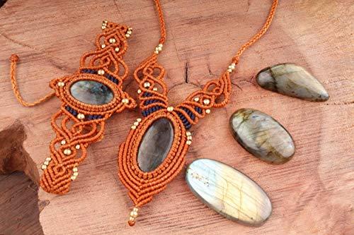 Boho Jewelry Set Macrame Tribal Bohemian Necklace Earthy Forest Elven Bracelet Fairy Goddess Pixie OOAK Gift for Woman