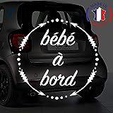 Sticker bébé à bord pour voiture Flèches 15 cm Blanc - Anakiss