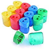 WXJ13 4 Colors Double Hole Manual Pencil Sharpener with Cover for Office and School, Pack of 12