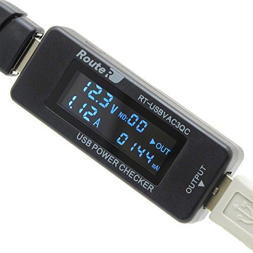 ルートアールQC2.0対応USB簡易電圧・電流チェッカー積算機能・時間・ワットVA同時表示対応RT-USBVAC3QC
