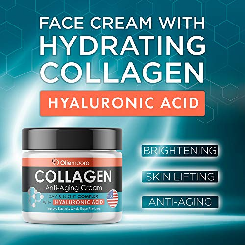 51 SeDiy9WL - Collagen Face Cream for Women - Anti Wrinkle Cream for Face with Hyaluronic Acid & Vitamin C - Day & Night Cream for Women Anti Aging Face Moisturizer