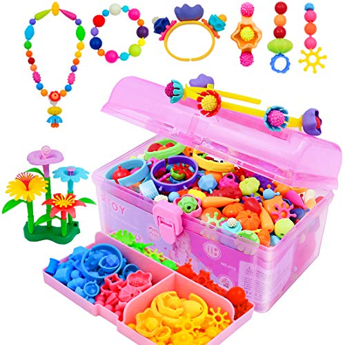 VERTOY Pop Beads, Arts and Crafts Kits for Preschool Girls, Create Bracelets, Necklaces, Earring, Party Snaps and STEM Gifts for 3 4 5 6 7 8 Kids