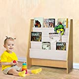 Shan-s Kids Book Rack Storage Bookshelf, Children's Wooden 4 Layer Fabric Sling Bookcase Toy Picture Book Organizing Storage Rack Shelving for Bedroom Living Room