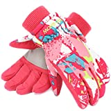 Ski Gloves,RunRRIn Winter Warmest Waterproof and Breathable Snow Gloves for Mens,Womens,Ladies and Kids Skiing,Snowboarding(Kids-Pink-White-M)