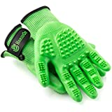 Handson Pet Grooming Gloves - #1 Ranked, Award Winning Shedding, Bathing, Hair Remover Gloves for Cats, Dogs, and Horses (Mono-Green, Large)