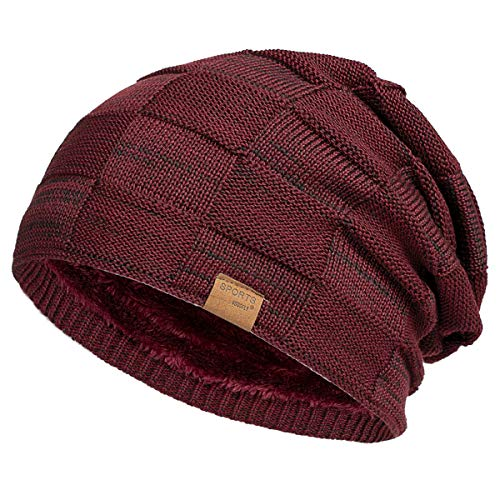 Vgogfly Slouchy Beanie for Men Winter Hats for Guys Cool Beanies Mens Lined Knit Warm Thick Skully Stocking Binie Hat Wine Red