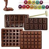 STCRERAG 4 Piezas Molde de Silicona de Silicona Letras Individualmente Letras de Chocolate y Números Molde de Letras 3D de Silicona DIY Letras de Chocolate Molde de Letras de Silicona con Mazo