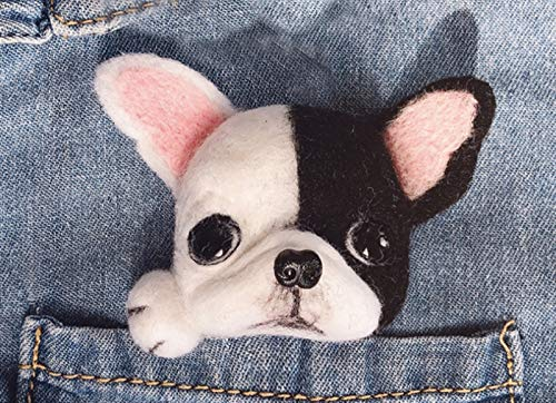DIY Wool Needle Felting Kit with Needle Felting Tools,Video Tutorial, Easy for Beginners,Felted Dog Puppy Brooch, Felted Animal (French Bulldog)