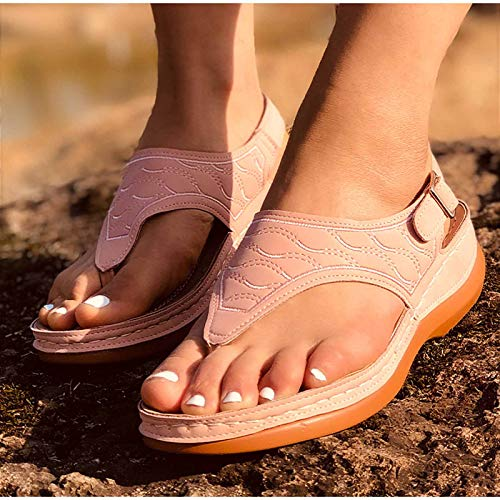 Frauen Sommer Flache Sandalen Damen Flip-Flops Open Toe Beach Sandalen Schnallenriemen Weibliche römische Sandalen,Blau,39