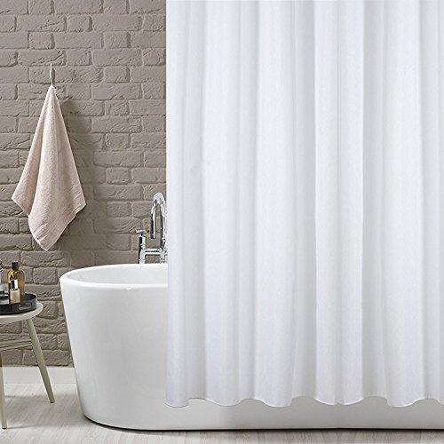KAV Duschvorhang Anti-Schimmel, Anti-Bakteriell Wasserabweisender Polyester, einfarbig, Weiß, Textil, Stoff mit 12 Duschvorhangringe für Badezimmer, 180 x 220 cm