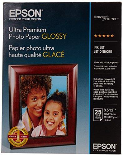 Epson Ultra Premium Photo Paper Glossy, Letter, 8.5 x 11, 25 Sheets (S042182), White