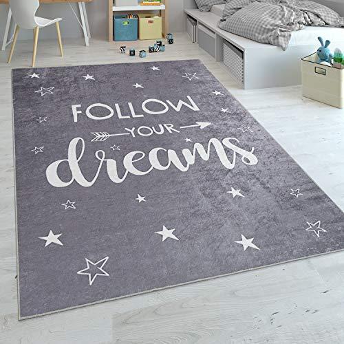 Alfombra Infantil, Tejido Plano para Habitación Infantil, con Frase Estampada Y Estrellas, Gris, tamaño:80x150 cm