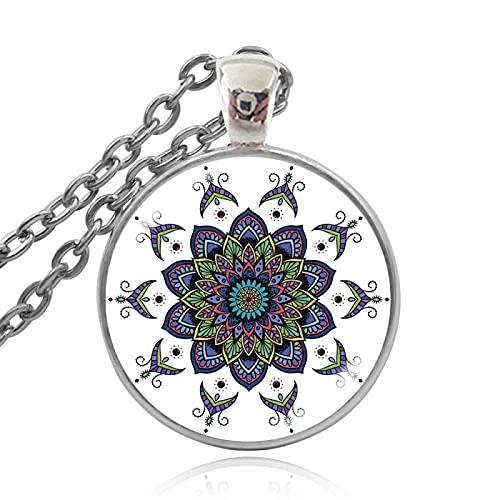 TUDUDU Henna Yoga Collares Pendientes Joyería India Hecha A Mano Bloom Mandala Lotus Collar Om Símbolo Budismo Longitud De La Cadena 60Cm + 5Cm