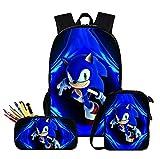 Mochila Sonic 3 Unids Set Mochila, Alta Capacidad, Hombre Niños Bolsas De Viaje De Regreso A La Escuela Mejor Regalo,K