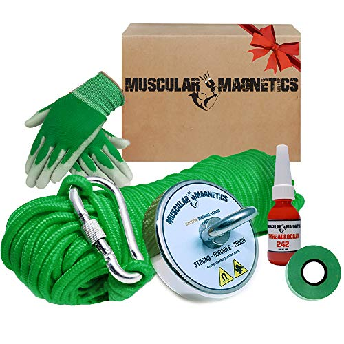 625lb Fishing Magnet Bundle Pack - Includes 6mm 100ft High Strength Nylon Rope with Carabiner, Non-Slip Rubber Gloves, Threadlocker & Super Strong Pulling Force Rare (Complete Kit)