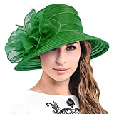 Cloche Oaks Church Dress Bowler Derby Wedding Hat Party S015 (Bow-Green)