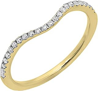 Dazzlingrock Collection 0.20 Carat (ctw) 14K Gold Round Diamond Ladies Wedding Contour Guard Band 1/5 CT