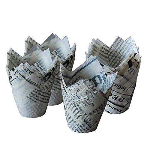 TININNA 50Pièce Boites Caissettes en Papier Journal Tulipe pour Muffins Gâteau Moule Parfait pour Les Muffins, Gâteau, Cupcake, Chocolat, Gélee etc