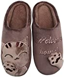 Mishansha Hombre Mujer Zapatillas de Casa para Invierno Otoño, con Forro de Felpa y Suela Dura, Cómodas/Blanditas/Mulliditas y Calentitas(048 Marrón, 41/42 EU = 42/43 CN)