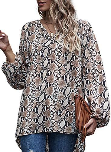 CORAFRITZ Blusa para mujer con estampado de piel de serpiente y cuello en V, manga larga, dobladillo...
