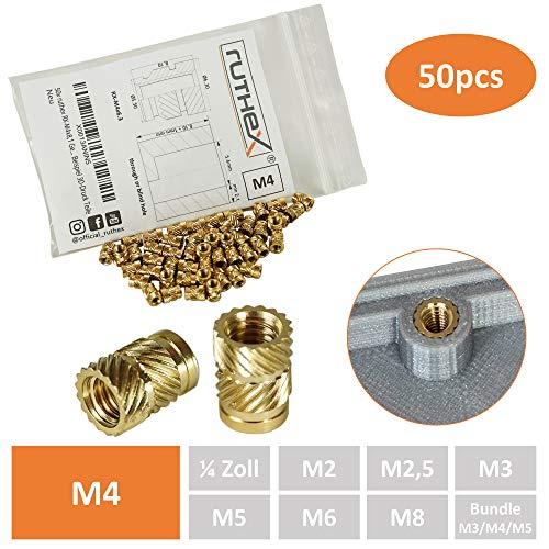 ruthex Gewindeeinsatz M4 (50 Stück) | RX-M4x8,1 Messing Gewindebuchsen | Einpressmutter für Kunststoffteile | durch Wärme oder Ultraschall in 3D-Drucker Teile