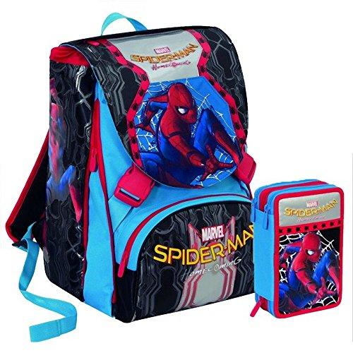 Seven Spiderman rugzak thuisterugkeer 2018 - scheidbare grote rugzak - 28 liter - schoolpack + box 3 vakken + Spiderman masker blauw en rood