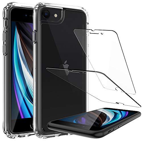LK Custodia per iPhone SE 2020, AntiGraffio Assorbimento degli Urti, HD Trasparente Cover con Screen Protector Vetro Temperato[2 Pack] per iPhone SE 2020 - Trasparente