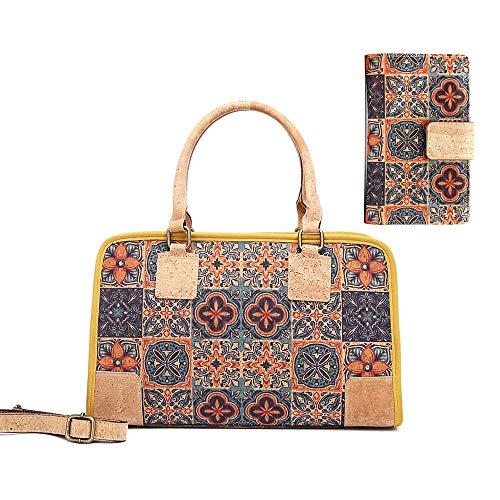 MENKAI-Corcho Bolsos de mano,Bolso de Hombro Crossbody para Damas,Moda Bolsos totes,Bolsos de hombro,Diseño estampado Tote Bag y Billetera de RFID,2pc Set