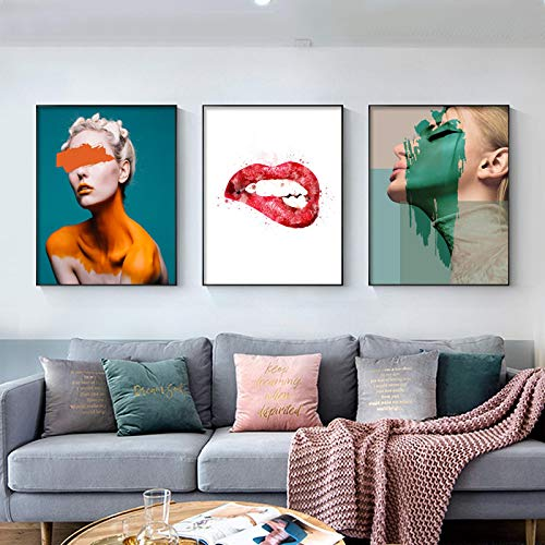 Gymqian Color de Moda Arte Chica Lienzo Pintura Labio Cartel e Impresiones Estilo nórdico Cuadro de Arte de Pared para Dormitorio decoración del hogar 40x50cmx3 sin Marco