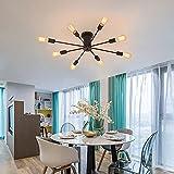 DAXGD Lamparas de Techo Vintage, 8 enchufes Lámparas de araña industriales E27 Lámpara Colgante de araña, Diámetro: 95 cm