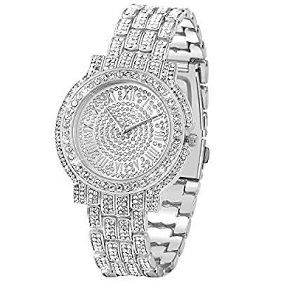 Amazon - Save 50%: Men's Iced Out Watch – Bling-ed Out Diamond Watch with Quartz Movement Crystal…