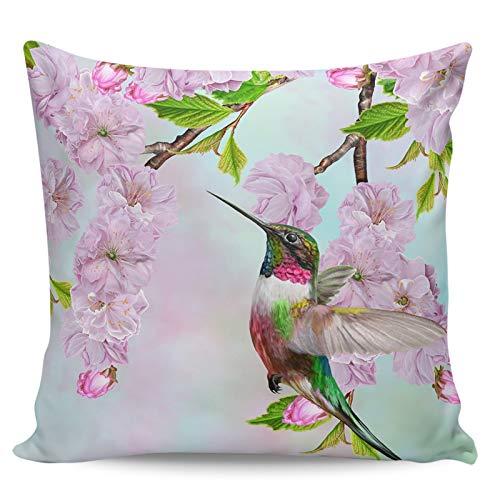 Winter Rangers Fundas de almohada decorativas: elegante colibrí fresco flor de cerezo hermosa pintura al óleo, funda de cojín corta para sofá, cama, silla, ultra suave y transpirable, 50,8 x 50,8 cm