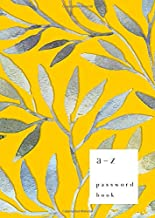 A-Z Password Book: B6 Small Password Notebook with A-Z Alphabet Index | Watercolor Floral Leaf Design | Yellow